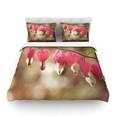 Bleeding Hearts Pink Flower by Angie Turner Featherweight Duvet Cover Size: Full/Queen