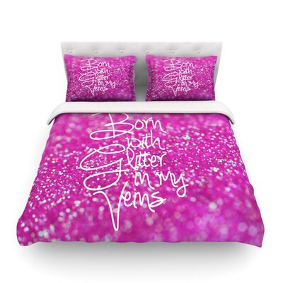 Born with Glitter Sparkle Featherweight Duvet Cover Size: Full/Queen