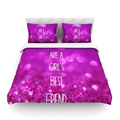 Sparkles are a Girls Best Friend Glitter Featherweight Duvet Cover Size: Twin