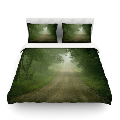 Foggy Road Forest by Angie Turner Featherweight Duvet Cover Size: Twin