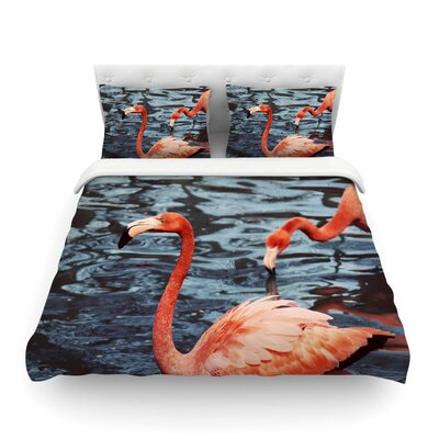 Flamingo Animals Featherweight Duvet Cover Size: Twin