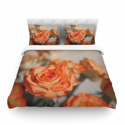 Roses Orange Floral Featherweight Duvet Cover Size: Full/Queen