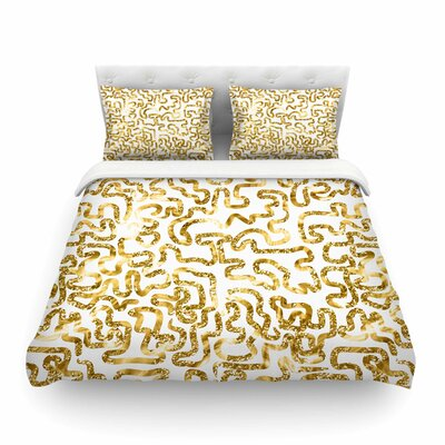 Squiggles by Anneline Sophia Featherweight Duvet Cover Size: Twin, Color: Yellow/Gold/White