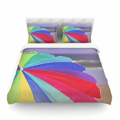 Beach Umbrella - Coastal Photography by Angie Turner Featherweight Duvet Cover Size: Full/Queen