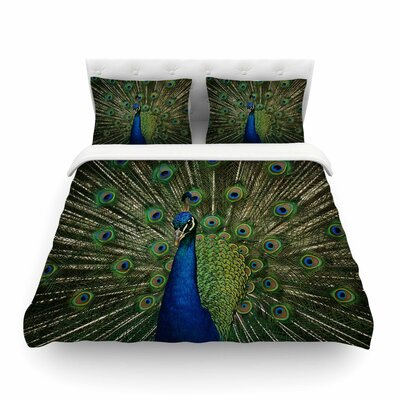 Proud Peacock Blue Animals by Angie Turner Featherweight Duvet Cover Size: King