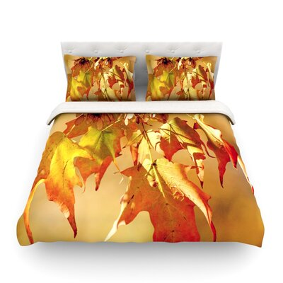Autumn Leaves Vibrant by Angie Turner Featherweight Duvet Cover Size: Full/Queen