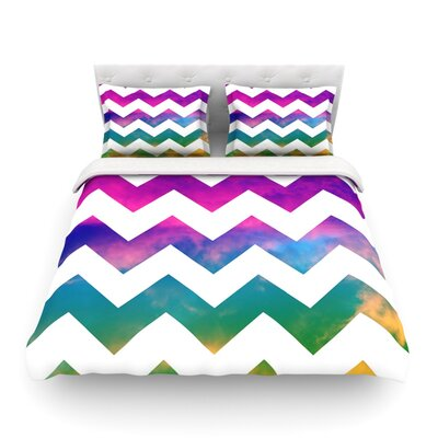 Lucky Chevron by Beth Engel Featherweight Duvet Cover Size: King