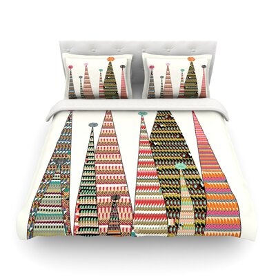 Feather Peaks Rainbow Triangles by Bri Buckley Featherweight Duvet Cover Size: Full/Queen
