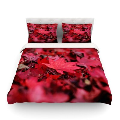 Leaves Maroon Leaf by Angie Turner Featherweight Duvet Cover Size: Twin