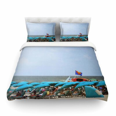 Superman at The Beach by Angie Turner Featherweight Duvet Cover Size: King