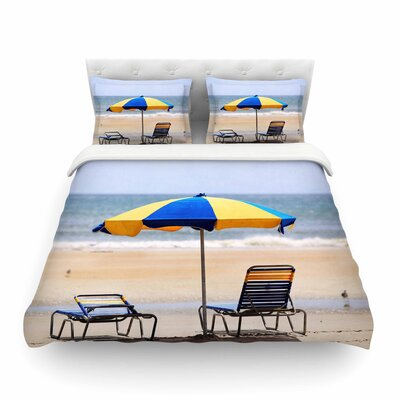 Umbrella Coastal Photography by Angie Turner Featherweight Duvet Cover Size: Full/Queen