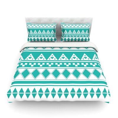 Rainbow Aztec by Belinda Gillies Featherweight Duvet Cover Size: Full/Queen, Color: Turquoise
