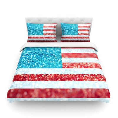 Glitter Flag by Beth Engel Featherweight Duvet Cover Size: Full/Queen