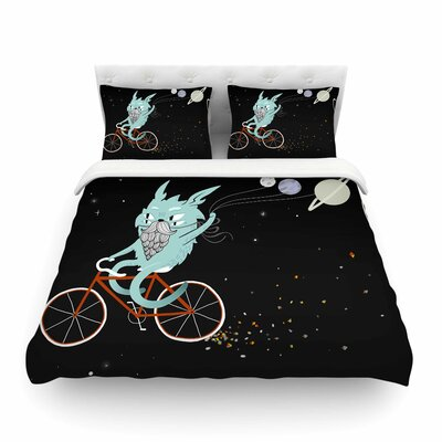 Bunny in Space Fantasy by Anya Volk Featherweight Duvet Cover Size: Twin