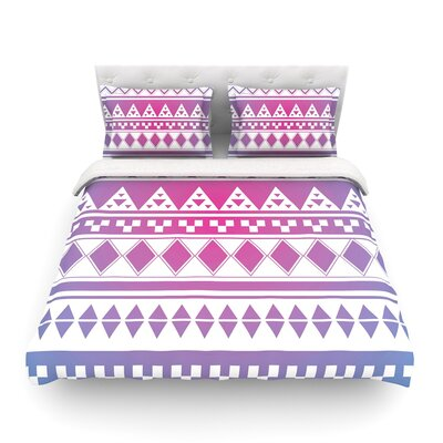 Rainbow Aztec by Belinda Gillies Featherweight Duvet Cover Size: King, Color: Rainbow