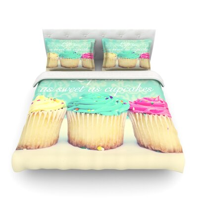 Life is as Sweet as Cupcakes Featherweight Duvet Cover Size: Full/Queen