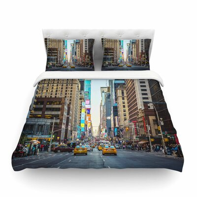 Sunset over 7th Urban Photography by Ann Barnes Featherweight Duvet Cover Size: King