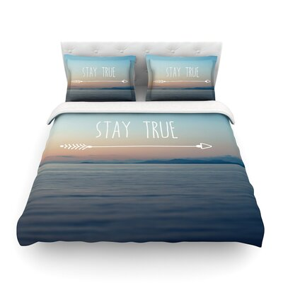 StayTrue Coastal Typography by Ann Barnes Featherweight Duvet Cover Size: Full/Queen
