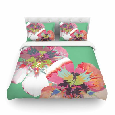 Graphic Flower Nasturtium by Love Midge Featherweight Duvet Cover Color: Mint/Green, Size: Full/Queen