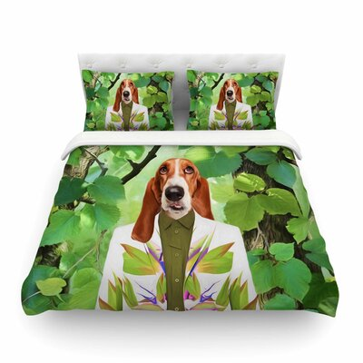 Into the Leaves Dog by Natt Featherweight Duvet Cover Size: Twin