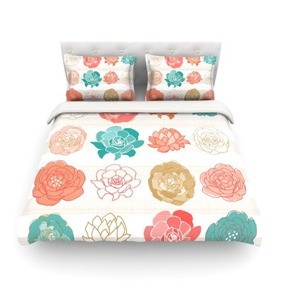 Flower Square Floral by Pellerina Design Featherweight Duvet Cover Size: Full/Queen