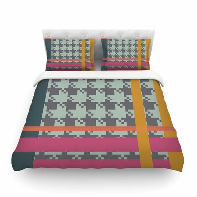 Houndstooth Color Block Contemporary by Pellerina Design Featherweight Duvet Cover Size: King
