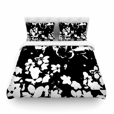 Helena Floral by Love Midge Featherweight Duvet Cover Color: Black, Size: Full/Queen