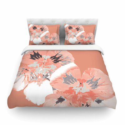 Graphic Flower Nasturtium by Love Midge Featherweight Duvet Cover Color: Coral/Pink, Size: Twin