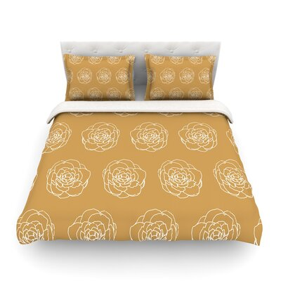 Golden Peonies by Heidi Jennings Featherweight Duvet Cover Size: Twin
