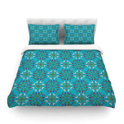 Morrocan Tile Geometric Floral by Mayacoa Studio Featherweight Duvet Cover Size: King