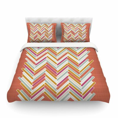 Herringbone Weave Bold Vector by Pellerina Design Featherweight Duvet Cover Size: King