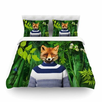 Into the Leaves Fox by Natt Featherweight Duvet Cover Size: Twin