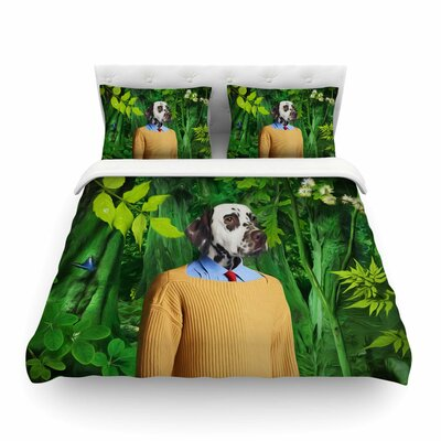 Into the Leaves Dog by Natt Featherweight Duvet Cover Size: King