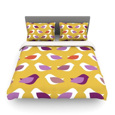 Golden Orchid Birds by Heidi Jennings Featherweight Duvet Cover Size: Twin