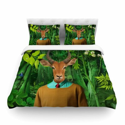 Into the Leaves Antelope by Natt Featherweight Duvet Cover Size: King