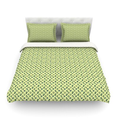 Flutterby Lime by Holly Helgeson Featherweight Duvet Cover Size: Full/Queen