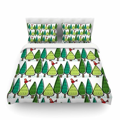 Vintage Christmas Holiday Pattern by Holly Helgeson Featherweight Duvet Cover Size: Full/Queen