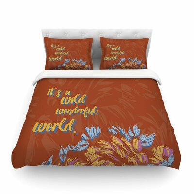 Wonderful World Typograpgy by Gukuuki Featherweight Duvet Cover Size: Full/Queen