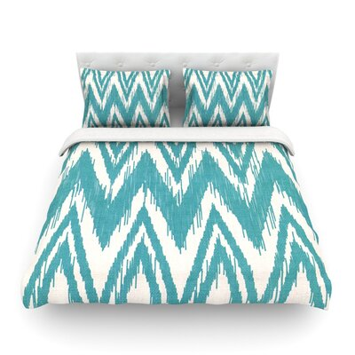 Tribal Chevron by Heidi Jennings Featherweight Duvet Cover Color: Aqua, Size: Full/Queen