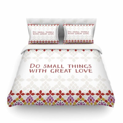 Moraira Love Typography by Gukuuki Featherweight Duvet Cover Size: King