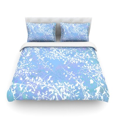 Twigs Silhouette by Iris Lehnhardt Featherweight Duvet Cover Size: Twin, Color: Pastel Blue/Cold