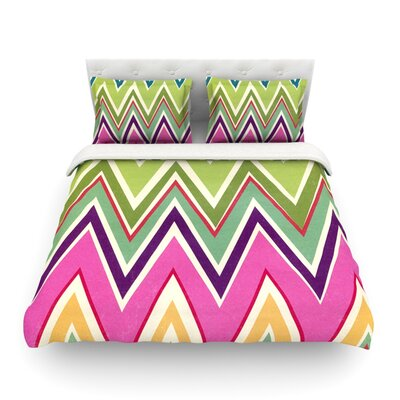 Clash of Color Rainbow Chevron by Heidi Jennings Featherweight Duvet Cover Size: Full/Queen