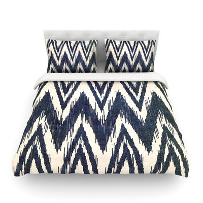 Tribal Chevron by Heidi Jennings Featherweight Duvet Cover Color: Black, Size: Twin