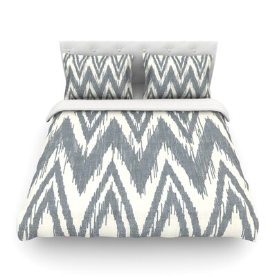 Tribal Chevron by Heidi Jennings Featherweight Duvet Cover Color: Gray, Size: Twin