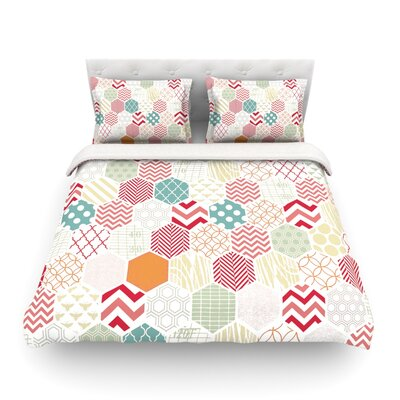 Geo Pastel Geometric by Heidi Jennings Featherweight Duvet Cover Size: Full/Queen
