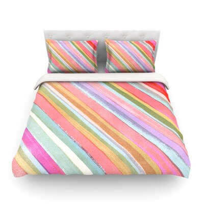 Pastel Stripes by Heidi Jennings Featherweight Duvet Cover Size: King