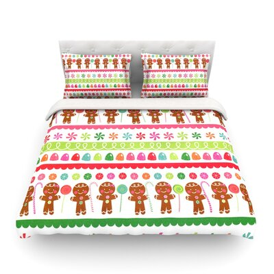 Gumdrop Buttons Gingerbread by Heidi Jennings Featherweight Duvet Cover Size: Full/Queen
