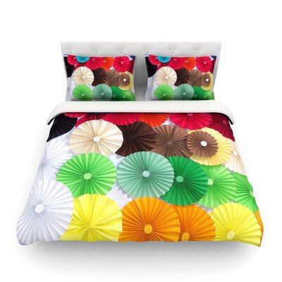 Adored Colored Circles by Heidi Jennings Featherweight Duvet Cover Size: King