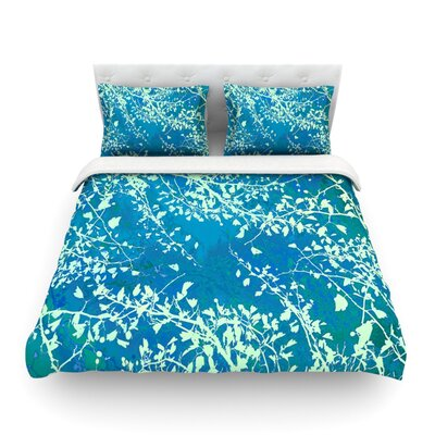 Twigs Silhouette by Iris Lehnhardt Featherweight Duvet Cover Size: Twin, Color: Teal/Aqua/Green