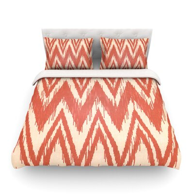 Tribal Chevron by Heidi Jennings Featherweight Duvet Cover Color: Red, Size: Twin
